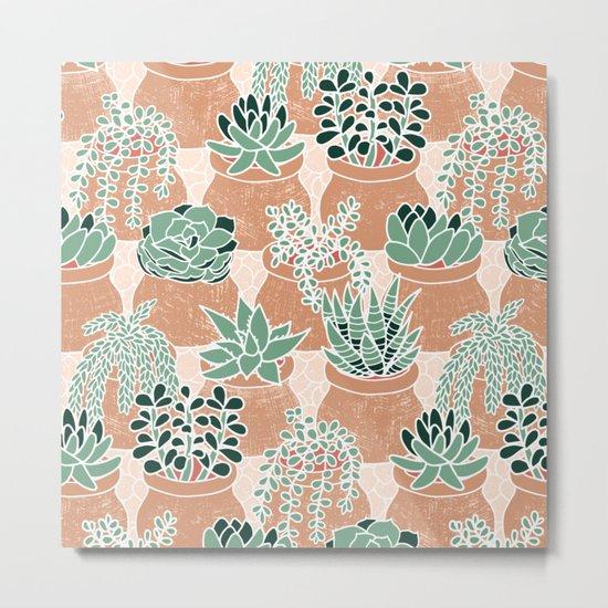 Succulent's Tiny Pots Metal Print