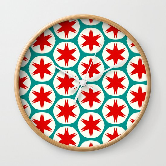 Retro Red Stars II Wall Clock