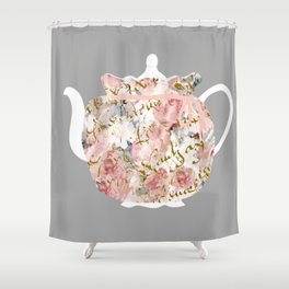 French Script and Roses Tea Cozy Shower Curtain