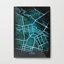 Astana, Kazakhstan, Blue, White, Neon, Glow, City, Map Metal Print