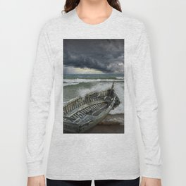 Shipwrecked Wooden Boat amidst Crashing Waves Long Sleeve T-shirt