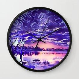 Cloudy Morning Sunrise on the Lake Wall Clock