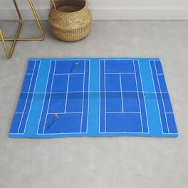 Blue Tennis Courts From Above  Rug