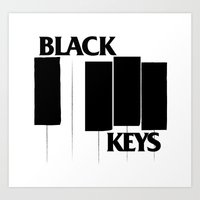 black keys Art Prints featuring The Black Piano Keys by Mike Oncley