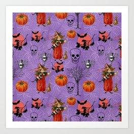 Vintage Halloween Pattern Art Print