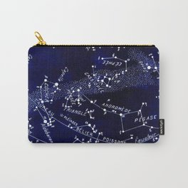 French December Star Map in Deep Navy & Black, Astronomy, Constellation, Celestial Carry-All Pouch