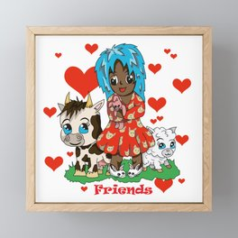Farmyard friends with red text Framed Mini Art Print