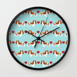 Cavalier King Charles Spaniel blenheim heart dog breed spaniels pet gifts Wall Clock