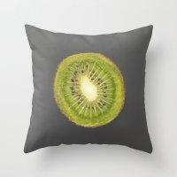kiwi Throw Pillows featuring kiwi by jon hamblin