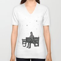 whisky V-neck T-shirts featuring snow & whisky by ASIMON