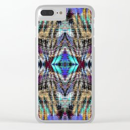 geometric symmetry pattern abstract background in blue brown pink Clear iPhone Case