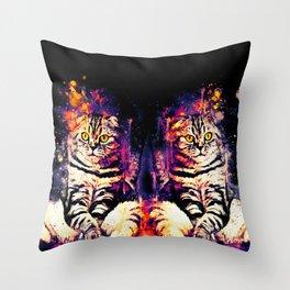 cat sitting like human ws fn Throw Pillow