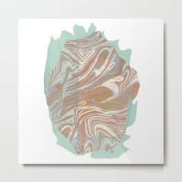 Abstract Marble and Mint Metal Print