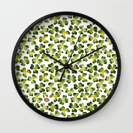 Clover field (with some 4-leaves ones for good luck) Wall Clock