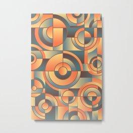 Abstract Orange Blue Circles Metal Print