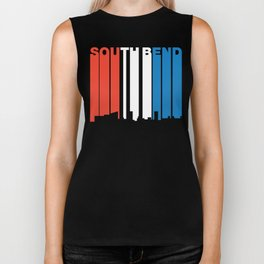Red White And Blue South Bend Indiana Skyline Biker Tank
