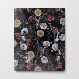 Deers and Flowers Metal Print