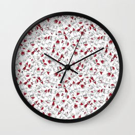 Christmas cat jumble white Wall Clock