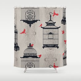 Kiss Empty Brid Cages Shower Curtain