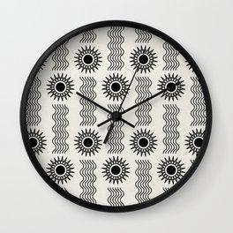 Sun and water minimal black line art Wall Clock