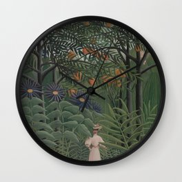 Woman Walking in an Exotic Forest Wall Clock