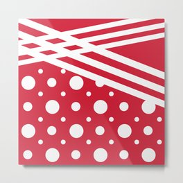 White dots on a red background. Metal Print