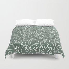 Doodle Line Art | White Lines on Dark Gray Green Duvet Cover