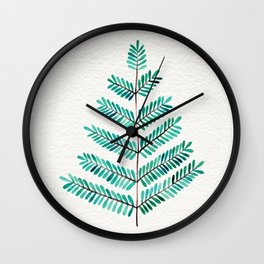 Turquoise Leaflets Wall Clock
