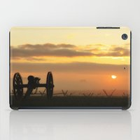 battlefield iPad Cases featuring Sunrise on a foggy Battlefield by Captive Images Photography