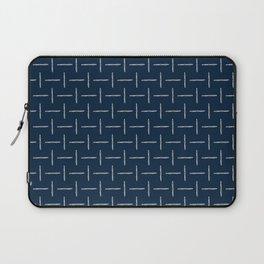 Airplane Propeller Blueprint Design white on blue Laptop Sleeve