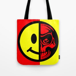 Smiley Face Skull Yellow Red Border Tote Bag