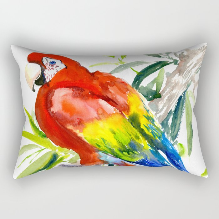 Scarlet Macaw, jungle tropical home decor bright colored parrot foliage Rectangular Pillow