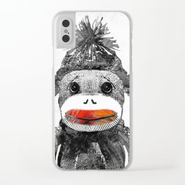 Sock Monkey Art In Black White And Red - By Sharon Cummings Clear iPhone Case