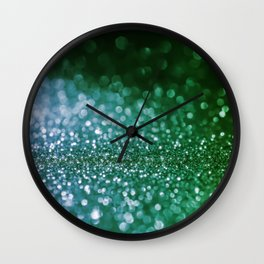 Aqua Glitter effect- Sparkling print in green and blue Wall Clock