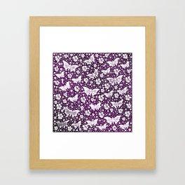 purple,siilver,flowers, stars, butterfly, pattern, bright, shiny, elegant, color Framed Art Print