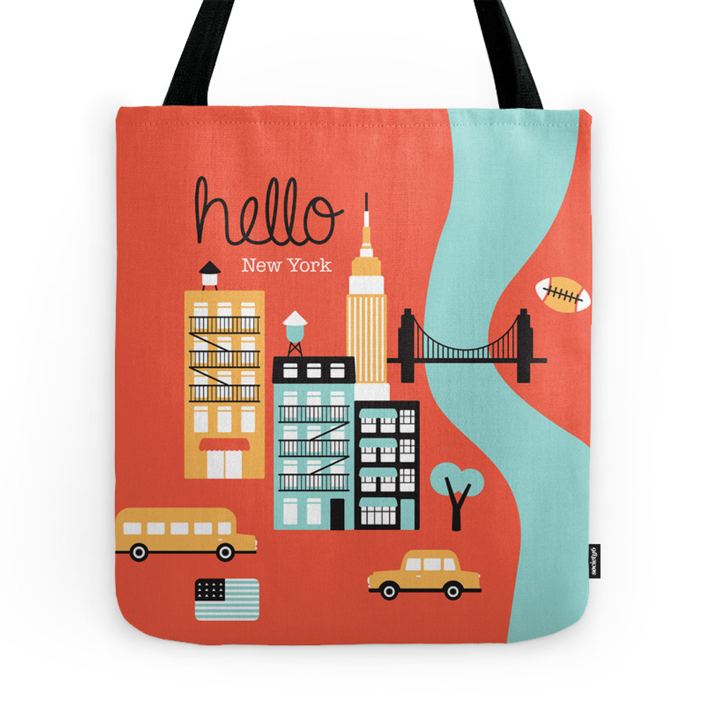 Hello New York - Retro Manhattan Nyc Icons Illustration Tote Purse by littlesmilemakersstudio (TBG2471089) photo