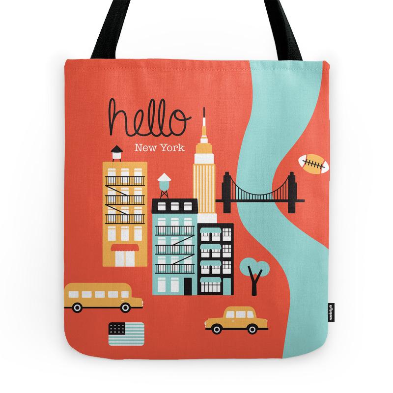 Hello New York - Retro Manhattan Nyc Icons Illustration Tote Purse by littlesmilemakersstudio (TBG2471089) photo