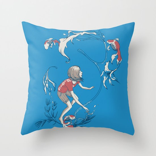 FISH AND WATER Throw Pillow