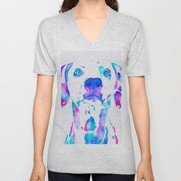 Colorful Dalmation! Unisex V-Neck