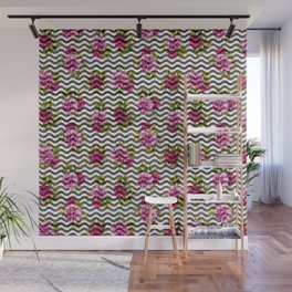 Neon pink green white black geometrical chevron floral Wall Mural