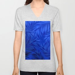 Palm Tree Fronds Brilliant Blue on Blue Hawaii Tropical Décor Unisex V-Neck