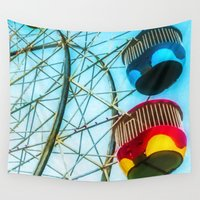 ferris wheel Wall Tapestries featuring The Ferris wheel by lanjee