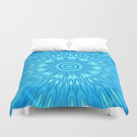 turquoise Duvet Covers featuring turquoisE Mandala Expolosion by 2sweet4words Designs