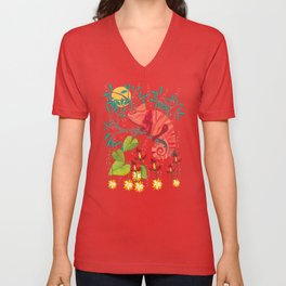 The Red Chameleon  Unisex V-Neck