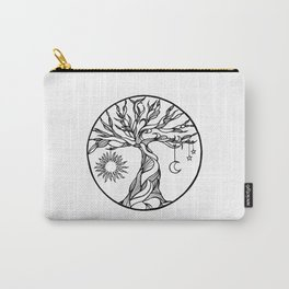 black and white tree of life with hanging sun, moon and stars I Carry-All Pouch