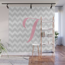 """Gray Chevron with Pink """"T"""" Monogram Wall Mural"""