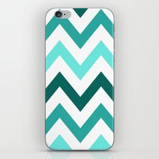TRI-TONE TEAL CHEVRON iPhone & iPod Skin