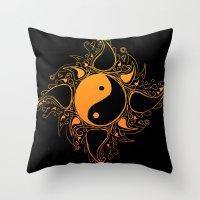 yin yang Throw Pillows featuring Yin & Yang by #dancingpenguin