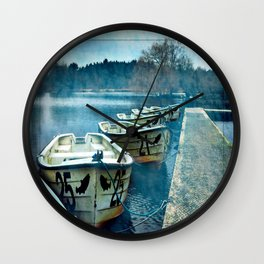 Boats in blue Wall Clock