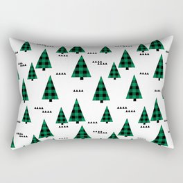 Christmas Tree forest plaid camping triangle geometric minimal festive holiday Rectangular Pillow